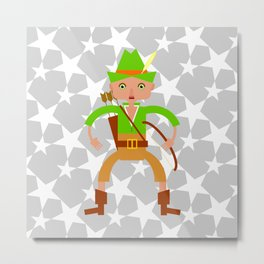 Forest hunter with bow and arrow Metal Print