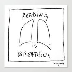Reading is Breathing Canvas Print