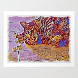 Blue Wave Cat Tiger v Mimi Art Print