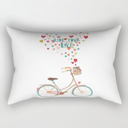 Ride Your Bike Bicycle Art Print Home Decor Living Room in pastel colors hearts Modern Wall Graphic  Rectangular Pillow