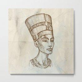 Bust of Nefertiti hand drawn Metal Print