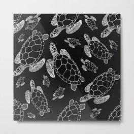 Turtles in Dark - Black and White - Drawing #decor #society6 #buyart Metal Print