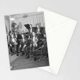 Vintage black and white photo of orchestra Stationery Cards
