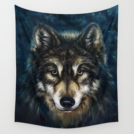 Artistic Wolf Face Wall Tapestry