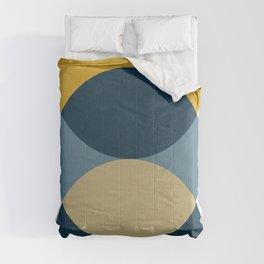 Rise of the Sun - Yellow, Blue, Geometric Art Comforters