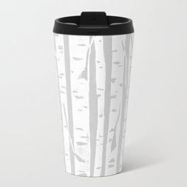 Woodcut Birches Grey Travel Mug