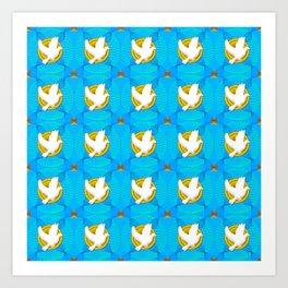 Dove on Golden Seal Pattern Art Print