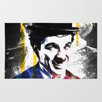 charlie chaplin Area & Throw Rugs featuring charlie chaplin by manish mansinh