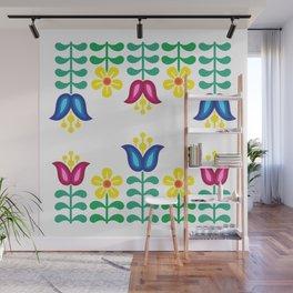 Scandinavian Folk Flowers Wall Mural