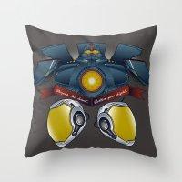 pacific rim Throw Pillows featuring Neural Handshake [Pacific Rim] by Ruwah