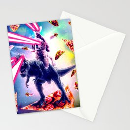 Laser Eyes Space Cat Riding Dog And Dinosaur Stationery Cards