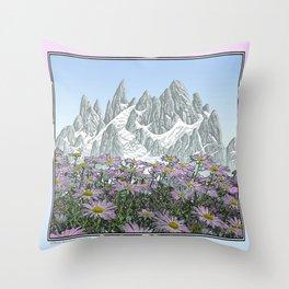 PURPLE DAISIES TALL MOUNTAIN PEN DRAWING PHOTO HYBRID Throw Pillow
