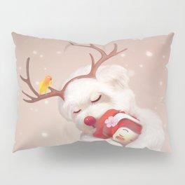 Little Girl Hugging Dog in Reindeer Antlers Pillow Sham
