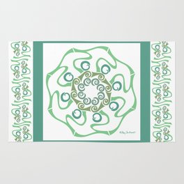 Hope Mandala with Border - Green White Rug