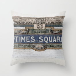 Times Square Subway New York, Tile Mosaic Sign Throw Pillow