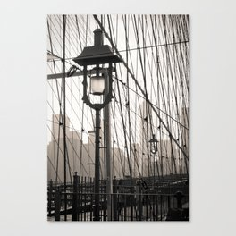 New York City's Brooklyn Bridge - Black and White Photography Canvas Print
