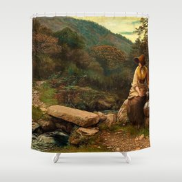 Classical Masterpiece The Footstep by Arthur Hughes Shower Curtain