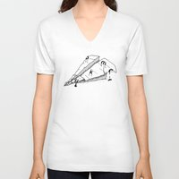 plane V-neck T-shirts featuring paper plane by gazonula