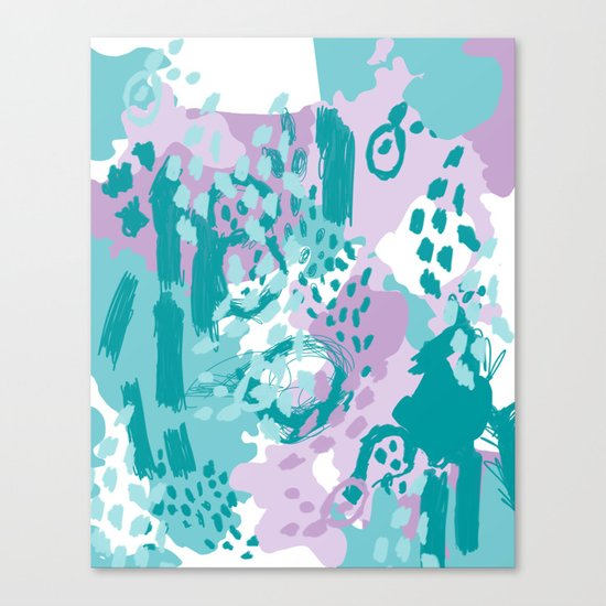 Riley - modern abstract trendy color palette nursery art decor lilac turquoise happy painting Canvas Print