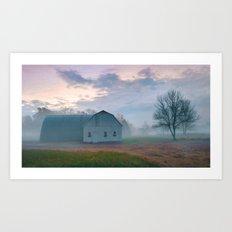 Foggy Morning Barn Art Print