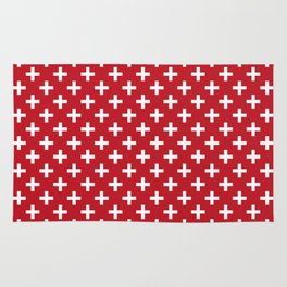 Criss Cross | Plus Sign | Red and White Rug