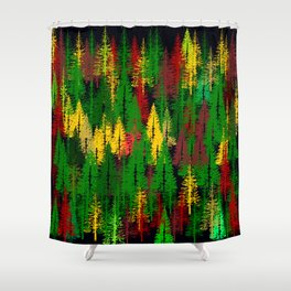 autumn fir forest Shower Curtain