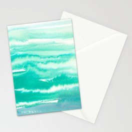 Modern hand painted teal turquoise watercolor brushstrokes Stationery Cards