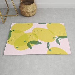 Lemon illustration pattern Rug