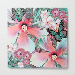 Peachy Mint Hibiscus Tropical Metal Print