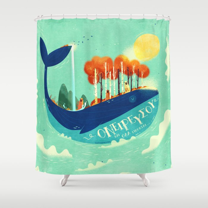 :::Tall Tree Whale::: Shower Curtain