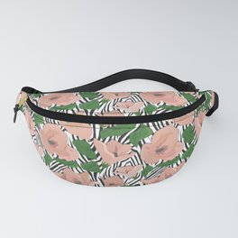 Exotic tropical floral flowers zebra skin pattern print Fanny Pack