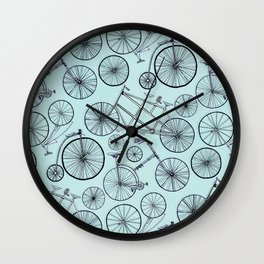 Monochrome Vintage Bicycles On Soft Blue Wall Clock