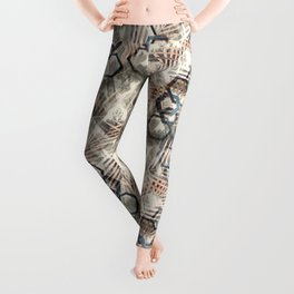 Chains on palm leaves. Leggings