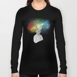 Albert Einstein With A Rainbow Galaxy Long Sleeve T-shirt