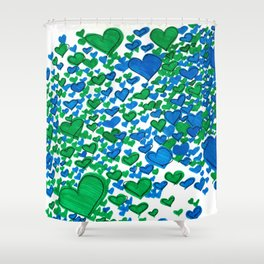 Love Collides - Blue & Green Hearts Shower Curtain