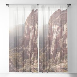 Sunset In Zion National Park Photo   Colors of Utah Landscape Nature Art Print   USA Digital Travel Photography Sheer Curtain
