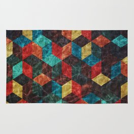 Colorful Isometric Cubes Rug