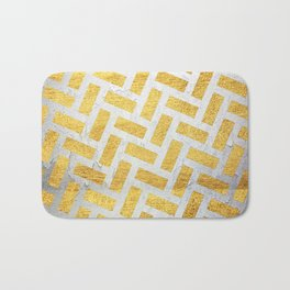Brick Pattern 1 in Gold and Silver Bath Mat
