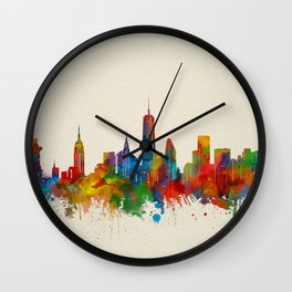 new york skyline watercolor 2 Wall Clock