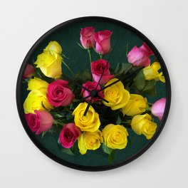 Bouquet of Yellow and Pink Wall Clock
