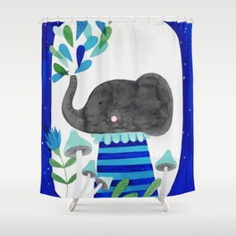 elephant with raindrops in blue watercolor illustration Shower Curtain