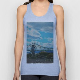 Aged Angler and Fish at the Campelton Bridge Unisex Tank Top