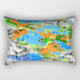 psychedelic splash painting abstract texture in blue green orange yellow black Rectangular Pillow