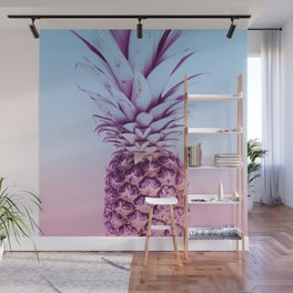 Light Blue and Pink Pineapple Wall Mural