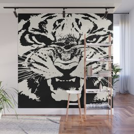 White Tiger Vector Wall Mural