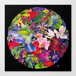Hummingbirds Black Canvas Print