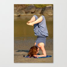 Yoga on Palolem Beach Canvas Print