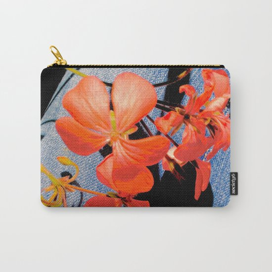 Geranium flowers on blue jean Carry-All Pouch