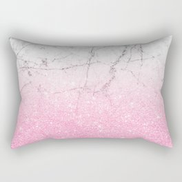 Pink Gold Glitter and Grey Marble Rectangular Pillow