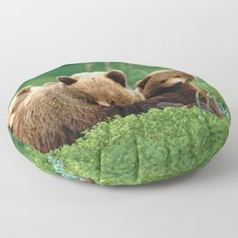 Spectecular Grizzly Bear Mother With Adorable Two Cubs In Meadow Ultra HD Floor Pillow